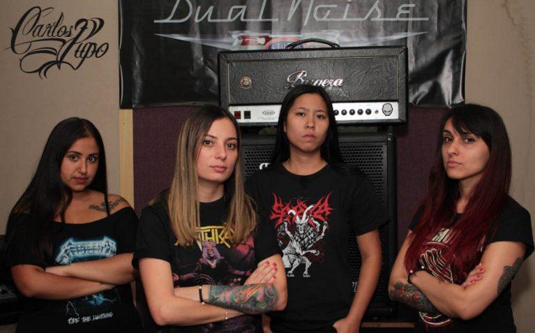 (e/d) Bruna, Renata, Cynthia e Mylena, com nova formação, a banda prepara o novo álbum