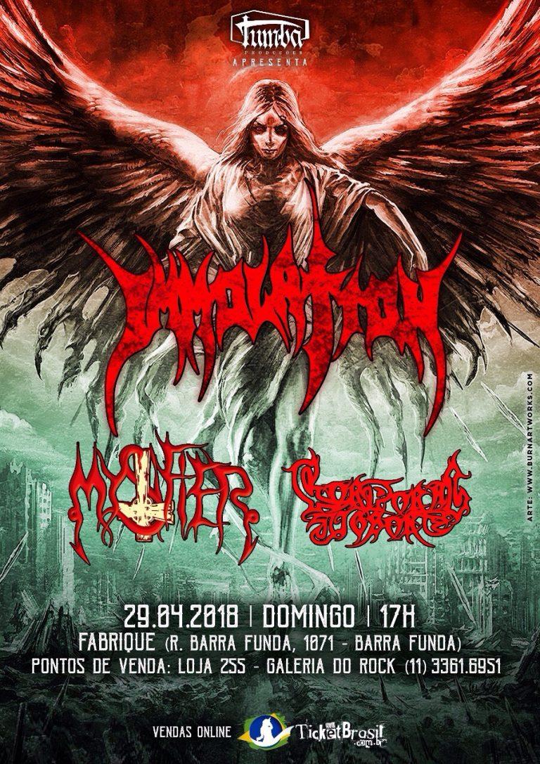 A turnê do Immolation pela América do Sul marca a volta da Tumba Productions, uma das mais tradicionais produtoras de metal extremo do Brasil, que havia encerrado as atividades em 2013.
