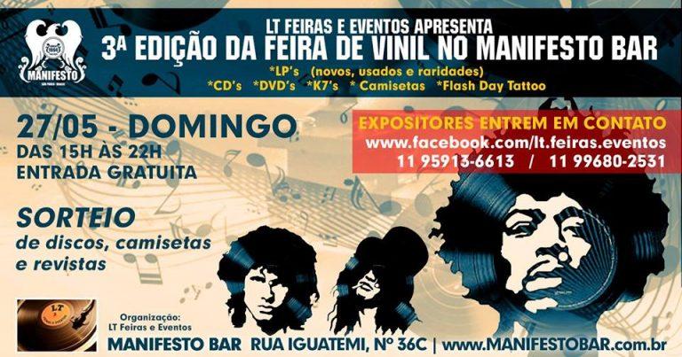 3ª Feira de Vinil no Manifesto Bar, no domingo, 27 de maio