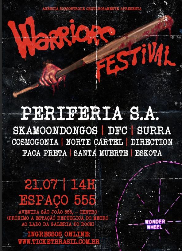No Espaço 555, Warriors Festival reúne 10 bandas da nova e velha geração do punk, hardcore e crossover no dia 21 de julho