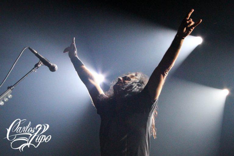 Mille Petrozza, guitarrista e vocalista, durante o show na Audio em São Paulo