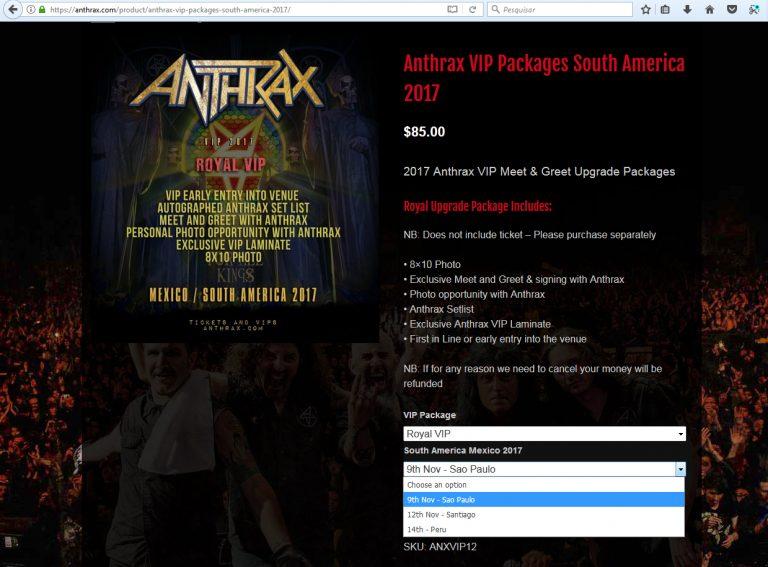 Anthrax oferece em seu website um kit para fãs de São Paulo