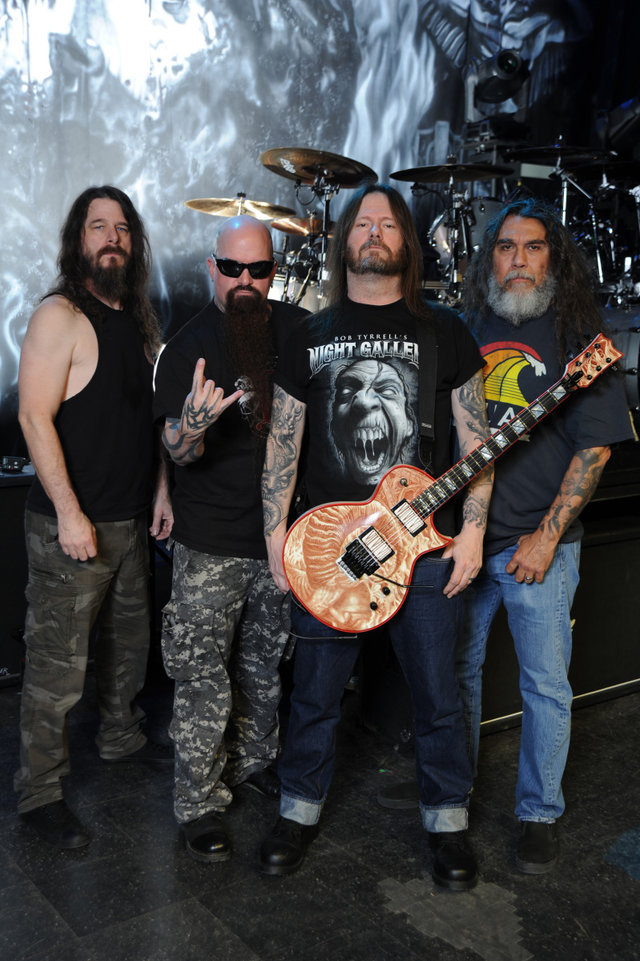 (e/d) Paul Bostaph, Kerry King, Gary Holt, Tom Araya