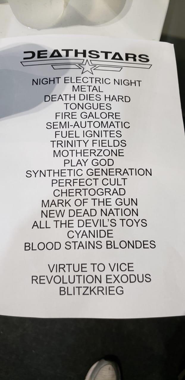 Setlist do show do Deathstars no Horror Expo 2019, em São Paulo